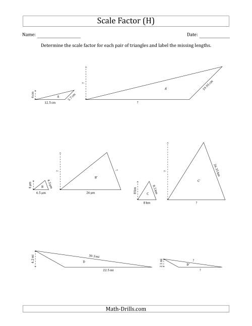 The Determine the Scale Factor Between Two Triangles and Determine the Missing Lengths (Scale Factors in Increments of 0.1) (H) Math Worksheet