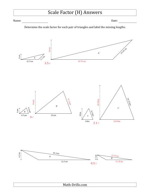 The Determine the Scale Factor Between Two Triangles and Determine the Missing Lengths (Scale Factors in Increments of 0.1) (H) Math Worksheet Page 2