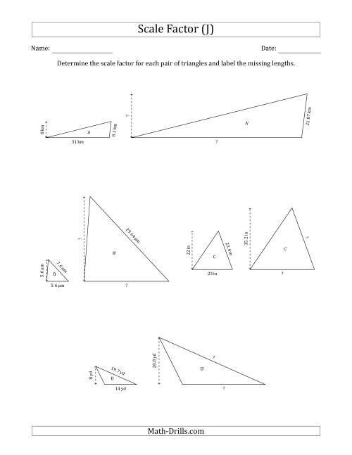 The Determine the Scale Factor Between Two Triangles and Determine the Missing Lengths (Scale Factors in Increments of 0.1) (J) Math Worksheet