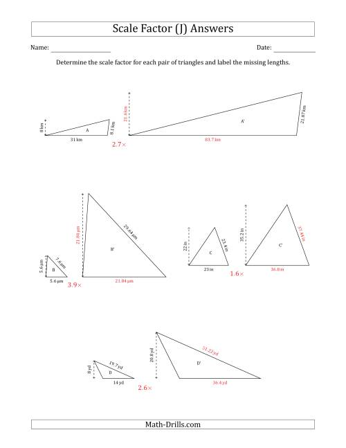The Determine the Scale Factor Between Two Triangles and Determine the Missing Lengths (Scale Factors in Increments of 0.1) (J) Math Worksheet Page 2