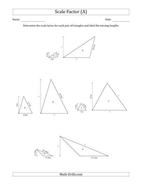 The Determine the Scale Factor Between Two Triangles and Determine the Missing Lengths (Whole Number Scale Factors) (A) Math Worksheet