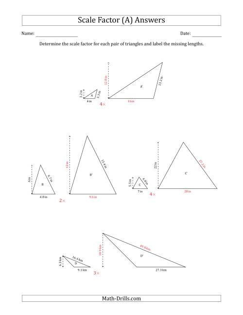 The Determine the Scale Factor Between Two Triangles and Determine the Missing Lengths (Whole Number Scale Factors) (A) Math Worksheet Page 2