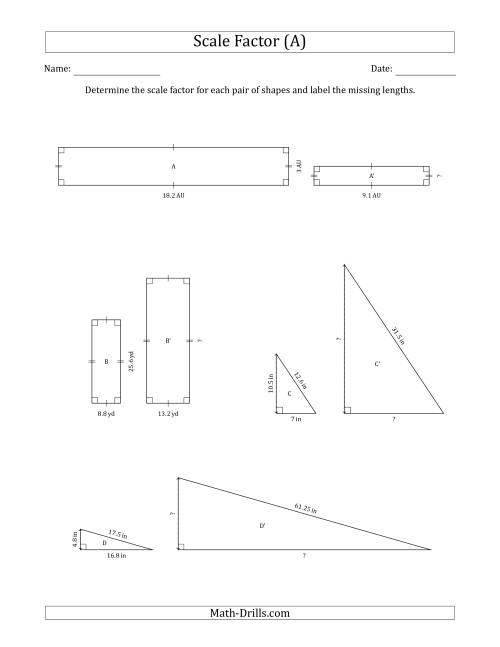 The Determine the Scale Factor Between Two Shapes and Determine the Missing Lengths (Scale Factors in Intervals of 0.5) (A) Math Worksheet