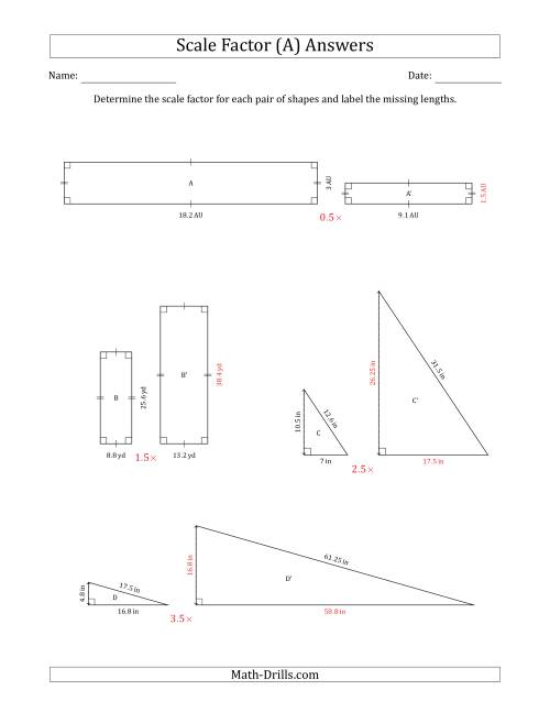 The Determine the Scale Factor Between Two Shapes and Determine the Missing Lengths (Scale Factors in Intervals of 0.5) (A) Math Worksheet Page 2