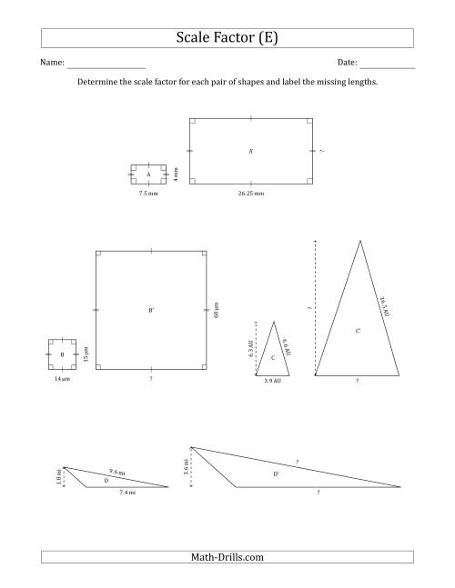 The Determine the Scale Factor Between Two Shapes and Determine the Missing Lengths (Scale Factors in Intervals of 0.5) (E) Math Worksheet