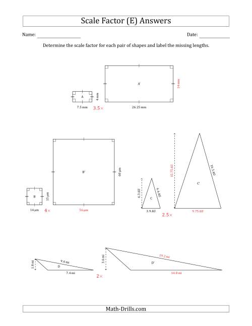 The Determine the Scale Factor Between Two Shapes and Determine the Missing Lengths (Scale Factors in Intervals of 0.5) (E) Math Worksheet Page 2