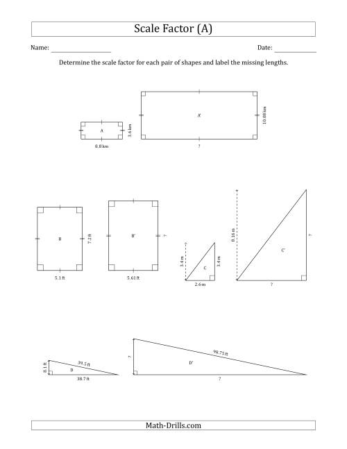 The Determine the Scale Factor Between Two Shapes and Determine the Missing Lengths (Scale Factors in Intervals of 0.1) (A) Math Worksheet