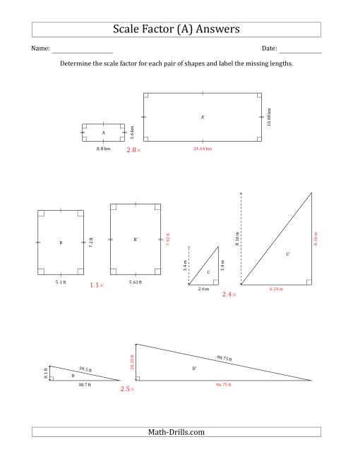 The Determine the Scale Factor Between Two Shapes and Determine the Missing Lengths (Scale Factors in Intervals of 0.1) (A) Math Worksheet Page 2