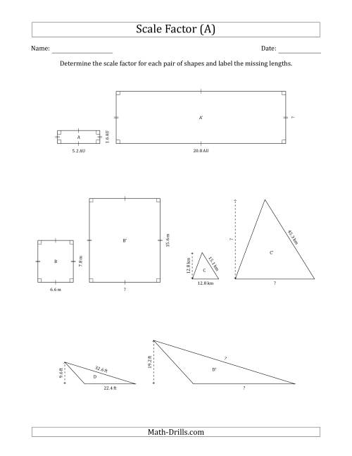 The Determine the Scale Factor Between Two Shapes and Determine the Missing Lengths (Whole Number Scale Factors) (A) Math Worksheet