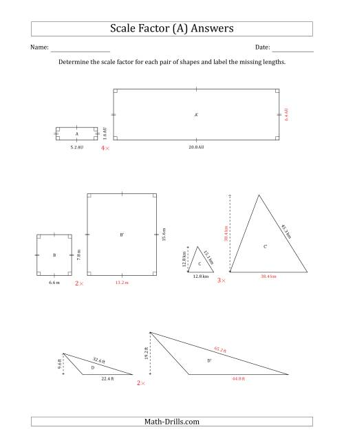 The Determine the Scale Factor Between Two Shapes and Determine the Missing Lengths (Whole Number Scale Factors) (A) Math Worksheet Page 2