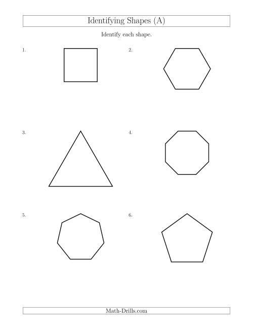 The Identifying Shapes (A) Math Worksheet