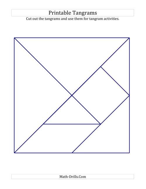 Black and White Tangrams with Thick Lines (A) Geometry Worksheet