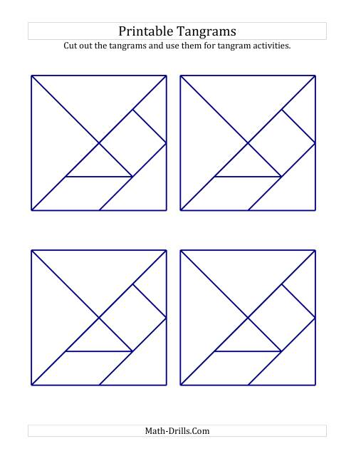 picture relating to Printable Tangrams Pdf called Black and White Tangrams with Thick Strains (A)