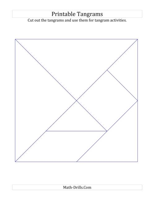 The Black and White Tangrams with Thin Lines (B) Math Worksheet