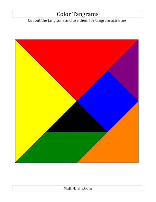The Color Tangrams with Thin Lines (C) Math Worksheet