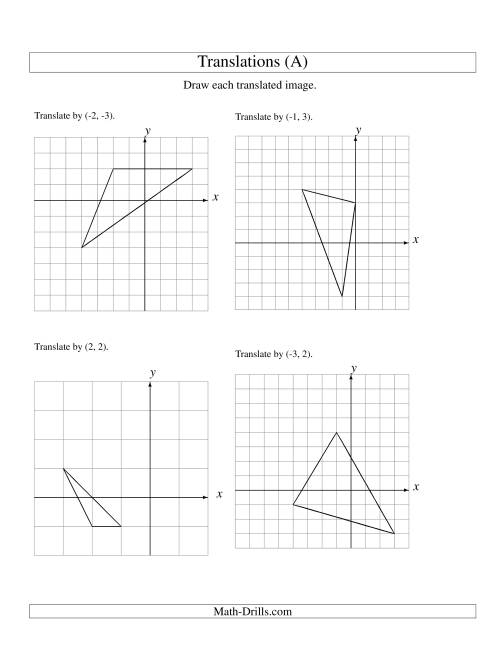 The Translation of 3 Vertices up to 3 Units (A) Geometry Worksheet