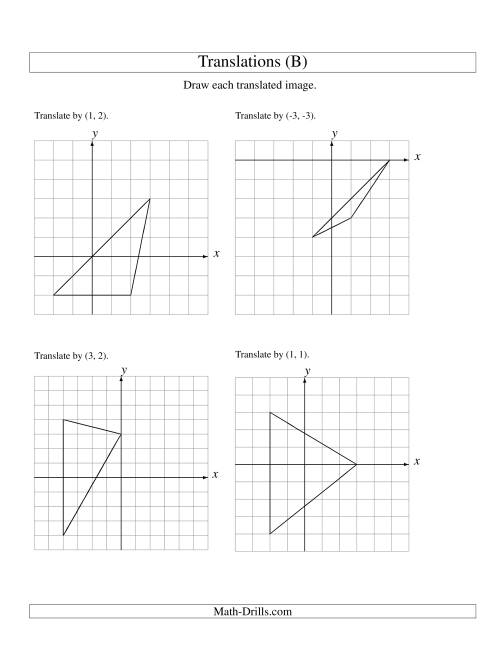 The Translation of 3 Vertices up to 3 Units (B) Math Worksheet