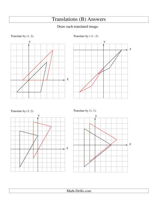 The Translation of 3 Vertices up to 3 Units (B) Math Worksheet Page 2