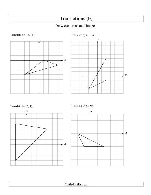 The Translation of 3 Vertices up to 3 Units (F) Math Worksheet