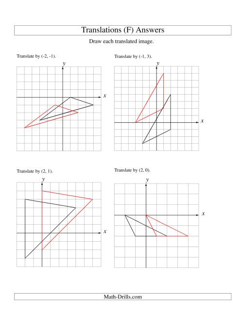 The Translation of 3 Vertices up to 3 Units (F) Math Worksheet Page 2