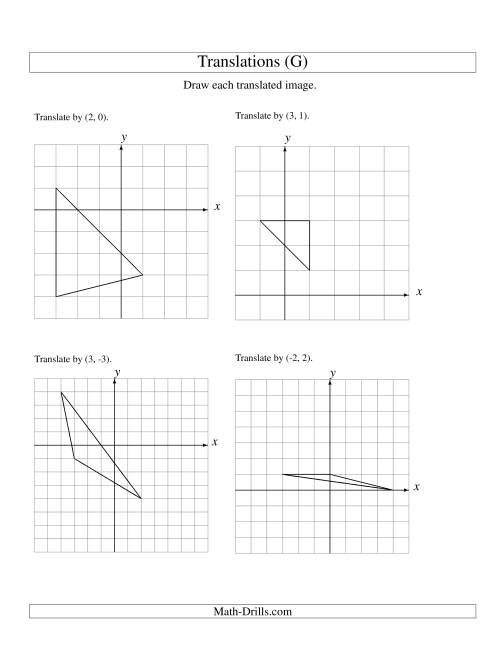 The Translation of 3 Vertices up to 3 Units (G) Math Worksheet