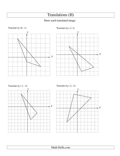 The Translation of 3 Vertices up to 3 Units (H) Math Worksheet