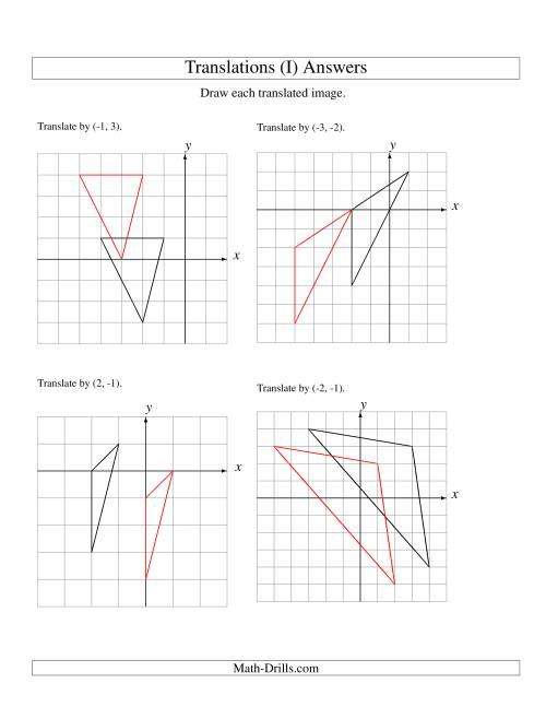 The Translation of 3 Vertices up to 3 Units (I) Math Worksheet Page 2