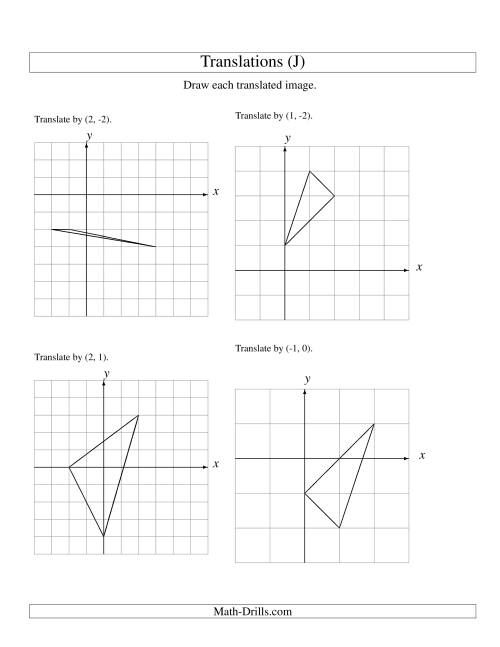 Translation of 3 Vertices up to 3 Units (J) Geometry Worksheet