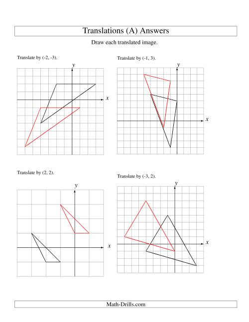 The Translation of 3 Vertices up to 3 Units (All) Math Worksheet Page 2