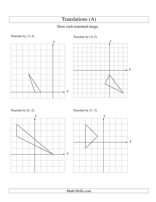 Printables Geometry Translation Worksheets translation of 3 vertices up to 6 units a geometry worksheet the worksheet