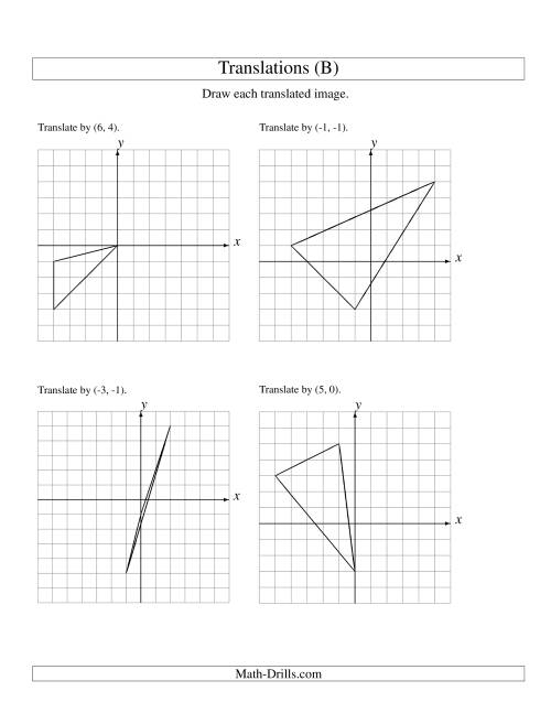 The Translation of 3 Vertices up to 6 Units (B) Math Worksheet