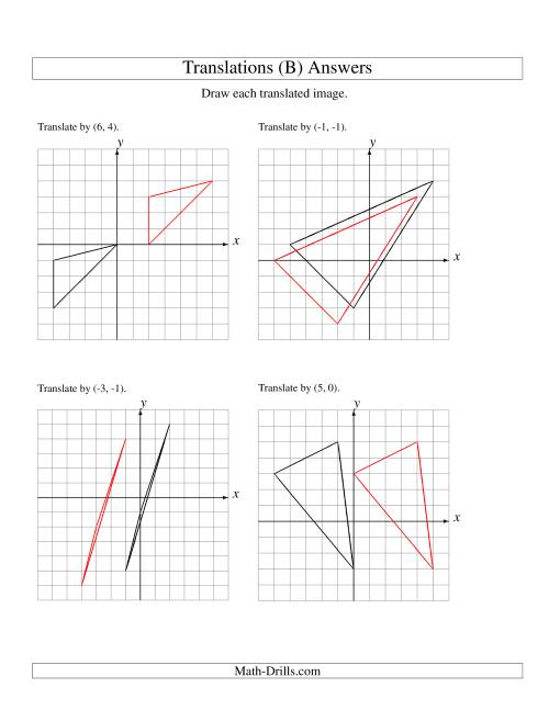 The Translation of 3 Vertices up to 6 Units (B) Math Worksheet Page 2