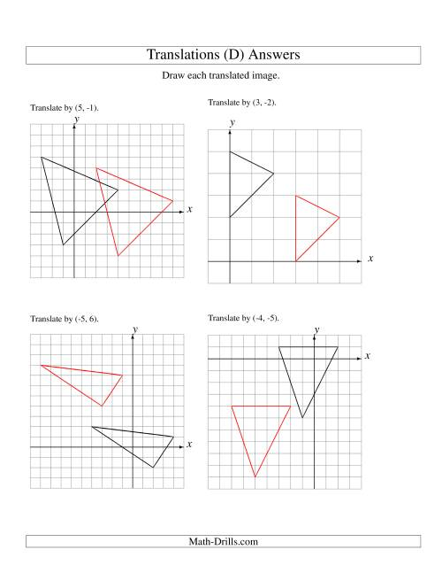 The Translation of 3 Vertices up to 6 Units (D) Math Worksheet Page 2