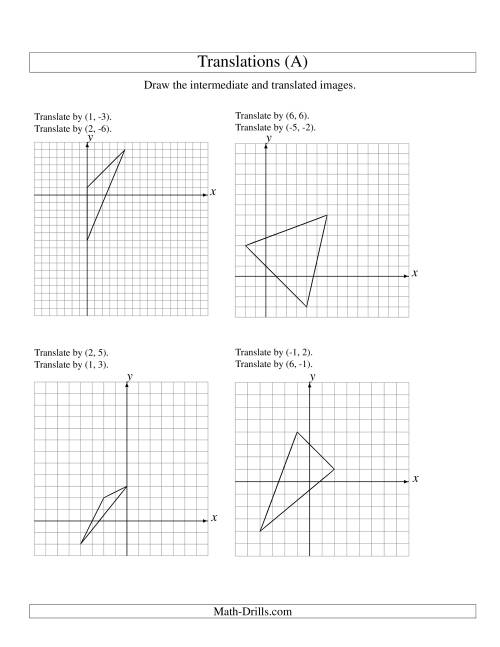 Worksheets Geometry Transformation Worksheets two step translation of 3 vertices up to 6 units a