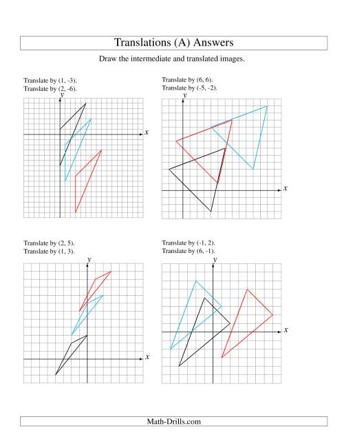 The Two-Step Translation of 3 Vertices up to 6 Units (A) Math Worksheet Page 2