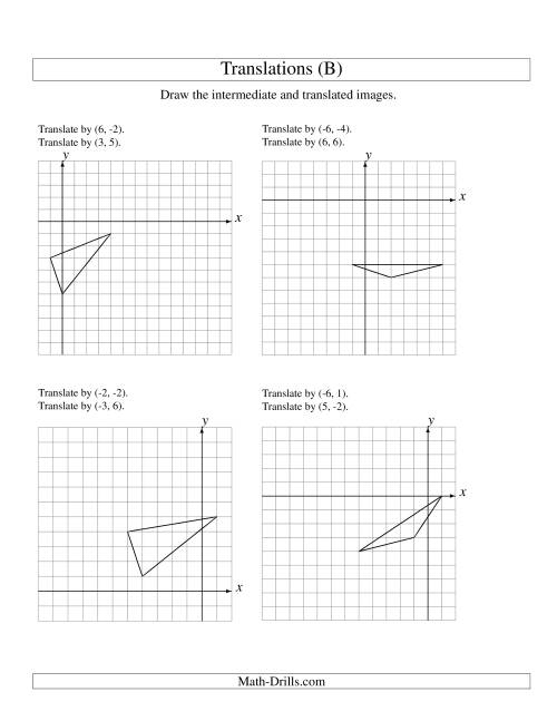 The Two-Step Translation of 3 Vertices up to 6 Units (B) Math Worksheet