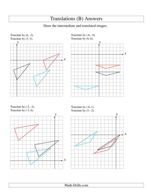The Two-Step Translation of 3 Vertices up to 6 Units (B) Math Worksheet Page 2