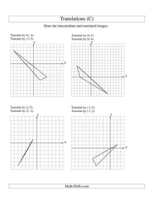 The Two-Step Translation of 3 Vertices up to 6 Units (C) Math Worksheet