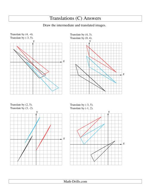 The Two-Step Translation of 3 Vertices up to 6 Units (C) Math Worksheet Page 2