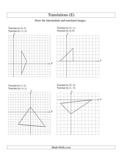 The Two-Step Translation of 3 Vertices up to 6 Units (E) Math Worksheet