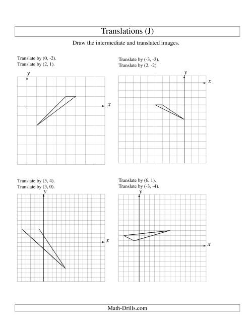 The Two-Step Translation of 3 Vertices up to 6 Units (J) Math Worksheet