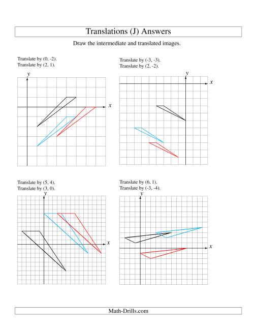 The Two-Step Translation of 3 Vertices up to 6 Units (J) Math Worksheet Page 2