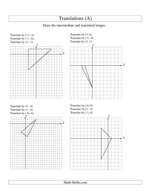The Three-Step Translation of 3 Vertices up to 6 Units (A) Geometry Worksheet