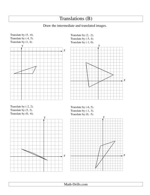 The Three-Step Translation of 3 Vertices up to 6 Units (B) Math Worksheet