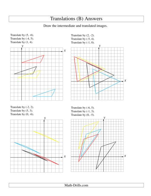 The Three-Step Translation of 3 Vertices up to 6 Units (B) Math Worksheet Page 2