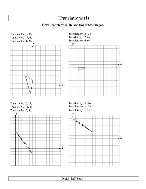 The Three-Step Translation of 3 Vertices up to 6 Units (J) Math Worksheet