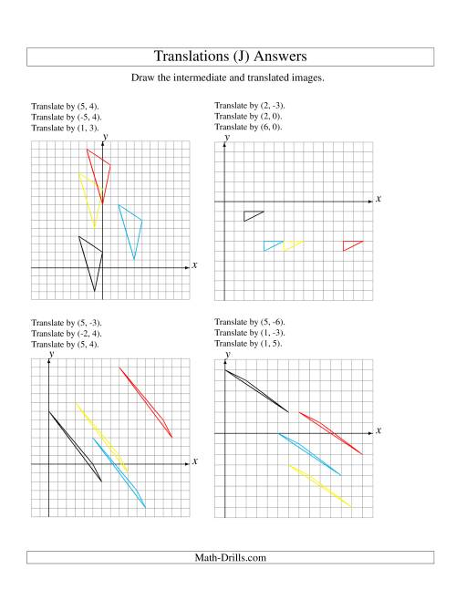 The Three-Step Translation of 3 Vertices up to 6 Units (J) Math Worksheet Page 2