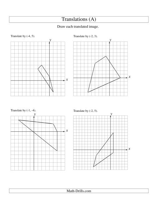 Worksheets Transformation Geometry Worksheets transformation maths worksheets translation of 4 vertices up to 6 units a geometry worksheet worksheets