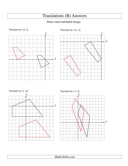 The Translation of 4 Vertices up to 6 Units (B) Math Worksheet Page 2