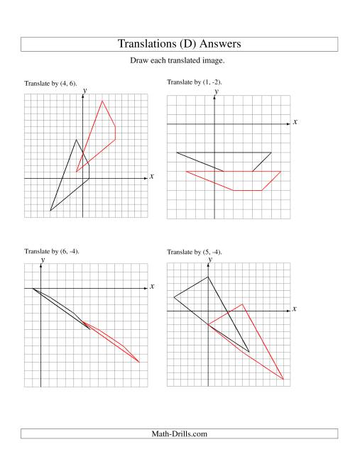 The Translation of 4 Vertices up to 6 Units (D) Math Worksheet Page 2